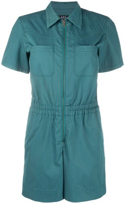 A.P.C. Zip-Up Short Sleeve Playsuit