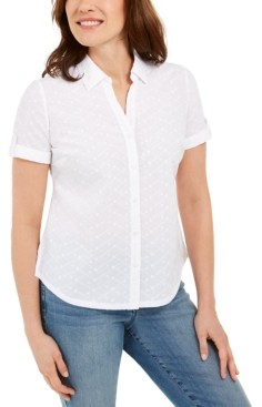 Karen Scott Cotton Embroidered Shirt, Created for Macy's
