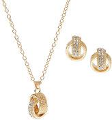 AK Anne Klein Gold-Tone Interlocking Rings Necklace & Earrings Set