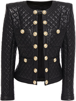 Balmain Button-embellished Quilted Leather Jacket