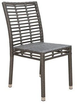 Panama Jack Graphite Stacking Patio Dining Chair Outdoor