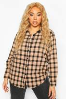 boohoo Plus Soft flannel Oversized Shirt