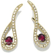 Tatitoto Vintage Women's Earrings in 18k Gold with Ruby and Diamond H/SI (total diamonds 0.32 ct), 4.8 Grams