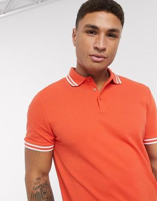 Asos Design DESIGN tipped pique polo shirt in red
