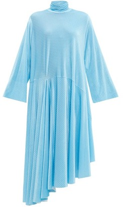 Balenciaga Asymmetric Polka-dot Velvet Maxi Dress - Blue White