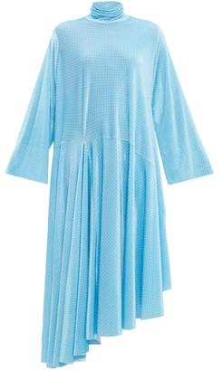 Balenciaga Asymmetric Polka-dot Velvet Maxi Dress - Womens - Blue White