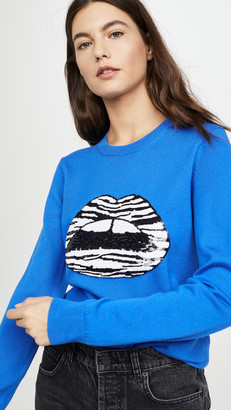 Markus Lupfer Mia Zebra Stripe Sequin Lip Sweater