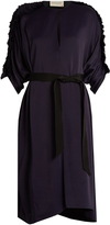 Maison Rabih Kayrouz Ruched-sleeved satin midi dress