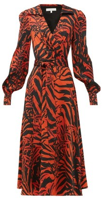 Borgo de Nor Nilla Zebra-print Silk Belted Midi Dress - Womens - Black Red