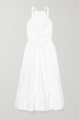 Miguelina Amanda Belted Open-back Linen Midi Dress - White
