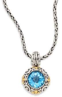 Effy Blue Topaz, Sterling Silver & 18K Yellow Gold Pendant Necklace