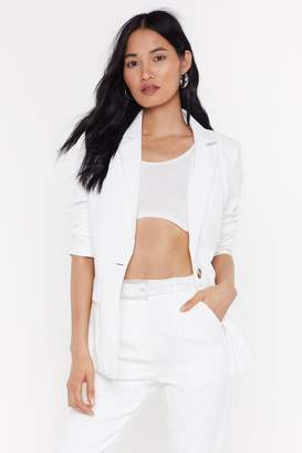 Nasty Gal Womens Girl in the Thunderbolt Suit Jacket - white - 14