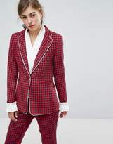 Sister Jane Dogtooth Blazer With Frill
