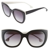 Alice + Olivia Women's Mercer 52Mm Cat Eye Sunglasses - Black/ White