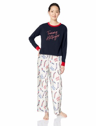 Tommy Hilfiger Women's Long Sleeve Top with Flannel Pant Bottom Pajama Set Pj