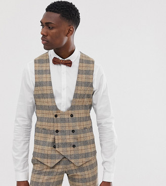 Twisted Tailor tall super skinny suit vest in heritage check-Tan