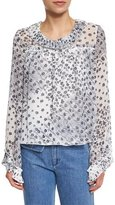 See by Chloe Long-Sleeve Collared Floral Blouse, Afterglow
