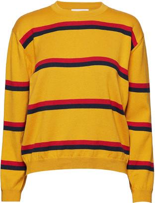 Libertine-Libertine Yellow Ocher Cotton Call Stripes Knit Longsleeve Sweater - XS - Yellow/Red/Black