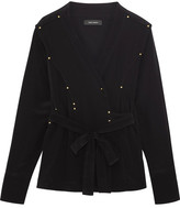 Isabel Marant Oswald Wrap-effect Studded Silk Crepe De Chine Blouse - Black