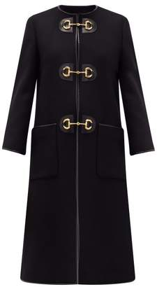 Gucci Horsebit Single-breasted Wool-blend Coat - Womens - Black