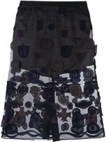 Sacai patched skirt - women - Cotton/Polyester - 2