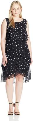 SL Fashions Women's Size Sleeveless Polka Dot Tiered Dress Plus