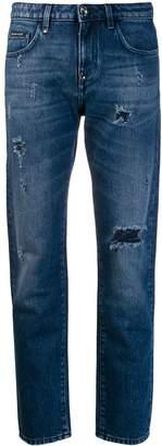 Philipp Plein low rise distressed straight jeans
