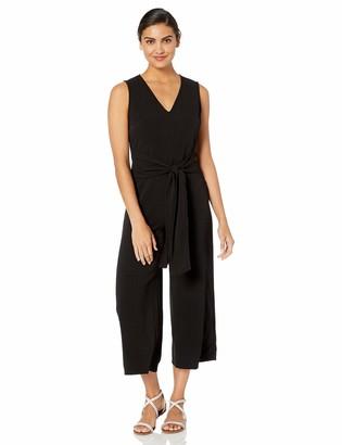 ASTR the Label Women's TIE Front Sleeveless Wide Leg Crop Jumpsuit