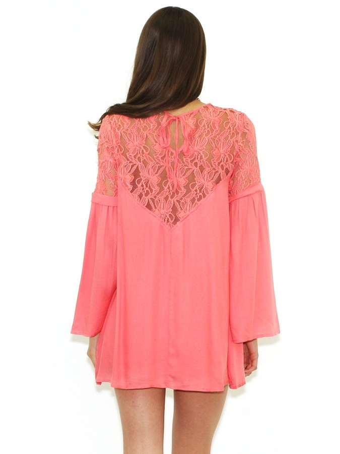 West Coast Wardrobe Bell Sleeve Dress with Lace in Coral