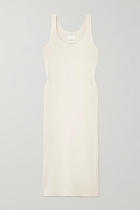 LAUREN MANOOGIAN Ribbed Organic Cotton And Alpaca-blend Midi Dress - White