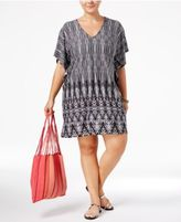 Dotti Plus Size Tie-Dyed Festival Printed Flutter-Sleeve Tunic Cover-Up