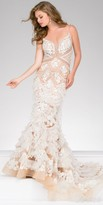 Jovani Ruffle Applique Sheer Illusion Evening Dress
