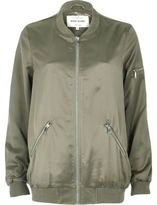River Island Womens Light green satin longline bomber jacket