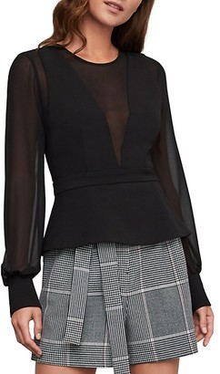 BCBGMAXAZRIA Sheer Back Peplum Top