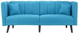 Divina Casa Mid Century Plush Tufted Linen Fabric Sleeper Futon Sofa, Sky Blue
