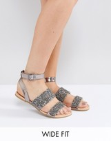 Asos FANCY FEET Wide Fit Embellished Flat Sandals