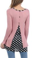 Celeste Pink Polka Dot Split-Back Tunic - Plus