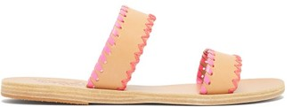 Ancient Greek Sandals Melia Whipstitched Leather Slides - Pink Multi