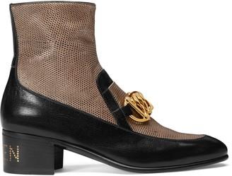 Gucci Women's Horsebit chain boot with lizard
