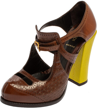 Fendi Brown/Yellow Leather Brogue Pumps Size 38