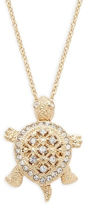 Adriana Orsini Goldtone Pave Crystal Turtle Pendant Necklace