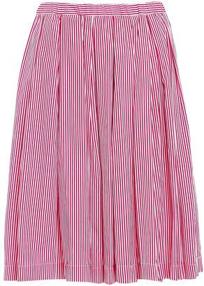 Mansur Gavriel Flared Pleated Striped Cotton-poplin Skirt
