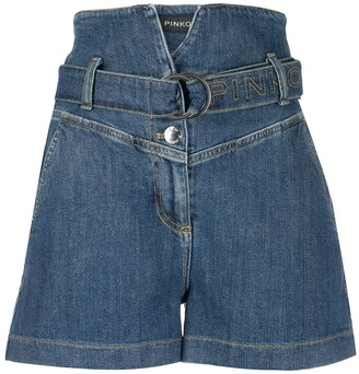 Pinko High-Rise Belted Denim Shorts