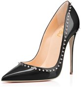 FSJ High Heels for Women Pointed Toe Shoes with Rivets Stilettos Pumps Size 4