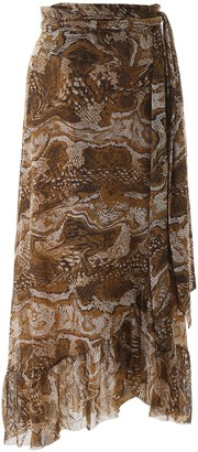 Ganni Printed Mesh Wrap Skirt