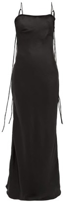 Art School - Silk Satin Maxi Slip Dress - Womens - Black
