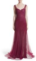 Monique Lhuillier Women's Draped Tulle & Lace Gown
