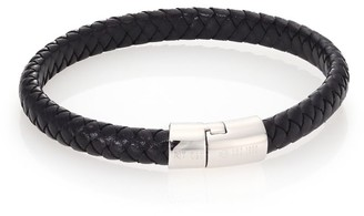 Tateossian Leather & Sterling Silver Classic Cobra Braided Bracelet