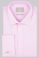 Savoy Taylors Guild Regular Fit Pink Double Cuff Basketweave Texture Shirt