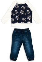 7 For All Mankind Infant Girls' French Terry Print-Front Top & Jogger Jeans Set - Sizes 12-24 Months